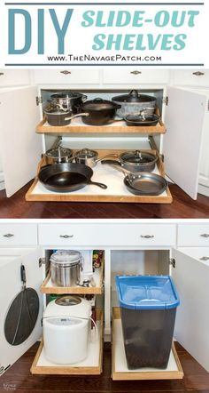 Sliding shelves are awesome, but the prices are crazy! These DIY pull-out shelves for the kitchen are attractive, durable, and a fraction of the cost! Diy Pull Out Shelves, Slide Out Shelves, Sliding Shelves, Pull Out Kitchen Shelves, Slide Out Pantry, Step Shelves, Corner Shelves, Wall Shelves, Diy Kitchen Storage