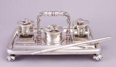A. de Haas, Sneek (Netherlands) zilveren inktstel, 1903. Silver inkstand, 1903