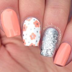 Spring and Summer Nail Art Orange Nail Art, Orange Nails, Nail Tip Designs, Nail Designs Spring, Peach Nails, Purple Nails, Coral Nails With Design, Coral Nail Polish, Vacation Nails
