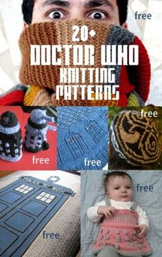 Doctor Who Inspired Knitting Patterns, many free -- For fun and cosplay, TARDIS, Daleks, Tom Baker scarf and more at http://intheloopknitting.com/doctor-who-knitting-patterns/