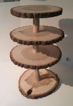 Rustic cupcake stand, wood slab cupcake display stand, treat holder, rustic wedding decor