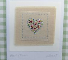 Hand stitched card made by Helen Drewett with very pretty Cath Kidston fabric Fabric Cards, Paper Cards, Diy Cards, Embroidery Hearts, Free Motion Embroidery, Freehand Machine Embroidery, Hand Embroidery Designs, Kids Birthday Cards, Handmade Birthday Cards