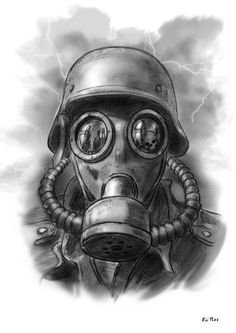 "Apocalyptic Gas Mask Actually, a World War 1 German Soldier in a Protective Mask of the period. In the Military, Protective Masks are used in the Field. NEVER ""gas masks. Gas Mask Drawing, Gas Mask Art, Masks Art, Gas Masks, Skull Tattoos, Body Art Tattoos, Sleeve Tattoos, Tattoo Mascara, Tattoo Drawings"
