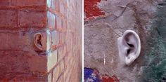 (Left) Michael Beitz, Ear Brick, 2001, cement. Installed in Brooklyn. (Right) Michael Beitz, Ear, 2002, cement. In Brooklyn.