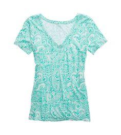 Mint Leaf Aerie Paisley Deep-V Neck T-Shirt