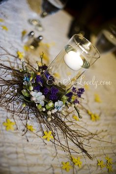 woodland bird nest and butterfly wedding centerpieces