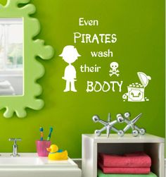 pirate vinyl wall decal even pirates wash their booty bathroom wall art decor boy and girl vinyl letters
