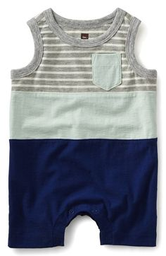 Tea Collection Stripe Color Block Romper (Baby Boys)