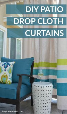 This outdoor living room is amazing and has so many smart (budget friendly) ideas like these outdoor curtains made from drop cloths! via outdoor curtains DIY Outdoor Curtains from Drop Cloths Outdoor Privacy, Backyard Privacy, Backyard Patio, Drop Cloth Curtains Outdoor, Deck Curtains, Backyard Shade, Backyard Projects, Outdoor Projects, Diy Projects
