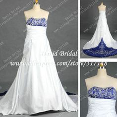 online shop real sample rd297 a line strapless embroidery royal blue and white wedding dress