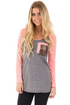 Lime Lush Boutique - Coral and Charcoal Top with Sequin Pocket Detail, $34.99 (http://www.limelush.com/coral-and-charcoal-top-with-sequin-pocket-detail/)