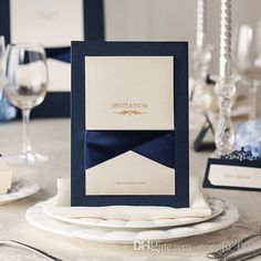 Navy Blue or Brown Wedding Invitations Cards Free Personalized & Customized Printing mark simple style Foil Stamping Symmetry Ribbon