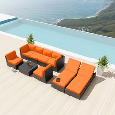 NEW Uduka Daly 9 Pcs Outdoor Orange Sectional Patio Furniture Espresso Brown Wicker Sofa Set All Weather