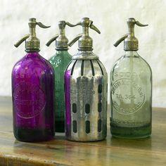 Vintage seltzer bottles. Just gorgeous.