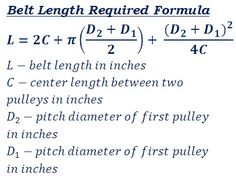 formula to calculate v or flat belt length required to connect two pulleys for mechanical power transmission Mechanical Engineering Projects, Engineering Technology, Science And Technology, Physics Formulas, Physics And Mathematics, Mechanical Power, Mechanical Design, Maths Solutions, Fluid Dynamics