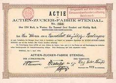 Actien-Zucker-Fabrik Stendal /Actie 1.250 Mark, Stendal 1.4.1898 (Auflage 100, R 10).
