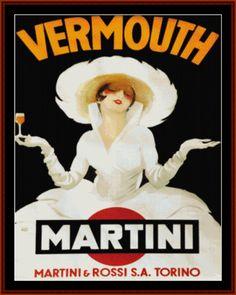 Martini-Rossi Torino - Vintage Poster - Cross Stitch Collectibles fine art cross stitch pattern