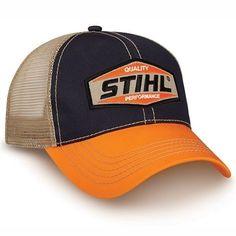 Stihl Chainsaws Grey Orange & Tan Mesh Back Snapback Logo Hat Brand Black Snapback, Snapback Cap, Mesh Cap, Fishing Outfits, Caps Hats, Retro, Grey, Baseball Caps, Baseball Season