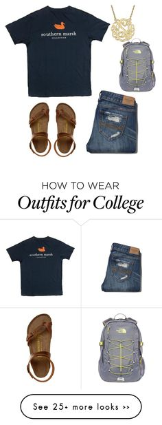 """OOTD casual."" by sadiepatton on Polyvore featuring Abercrombie & Fitch, Birkenstock and The North Face"