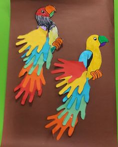 handprint parrot craft idea for kids  |   preschool crafts and worksheets