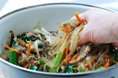 This Korean Stirfried Glass Noodles Korean Bapsang is a best for our dinner made with wholesome ingredients! Japchae Recipe Korean, Stir Fry Glass Noodles, Korean Vegetables, Asain Food, Thai Chicken Salad, Korean Dishes, Korean Food, Asian Recipes, Ethnic Recipes