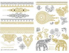 JEWELRY INSPIRED METALLIC TATTOO 4 PC COLLECTION PACK  SET YOUR SPIRIT FREE!  Free Spirit Tattoos are fabulously flashy temporary tattoos that