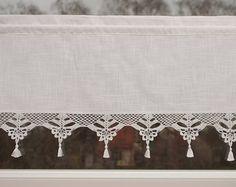 Cenefa cortina con encaje de ganchillo café cortina de