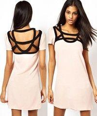 Light Pink Chiffon Dress with Black Straps Weave