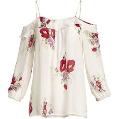 Joie Birtha Floral-Print Cold-Shoulder Top ($248) ❤ liked on Polyvore featuring tops, shirts, ruffle sleeve top, cut out shoulder top, cold shoulder tops, white shirt and open shoulder top