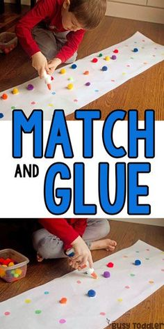 Art therapy activities preschool PRESCHOOLER FINE MOTOR ACTIVITY: This match and glue activity is AWESOME! Kids will love this pom pom activity thats so quick and easy to set up; an easy gluing activity for preschoolers from Busy Toddler Toddler Learning, Preschool Learning, Toddler Preschool, Toddler Crafts, Preschool Crafts, Toddler Activities, Preschool Set Up, Montessori Kindergarten, Baby Crafts