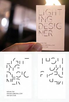 Business cards for a lighting designer that are illegible until held up to light via @jamesrdesigner