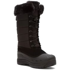 Baffin Women's Iceland Snow Boots (395222301) ($145) ❤ liked on Polyvore featuring shoes, boots, black, mid-calf boots, mid-calf lace up boots, leather winter boots, black snow boots, black winter boots and black boots