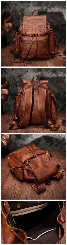 VINTAGE GENUINE LEATHER BACKPACK, TRAVEL LEATHER BACKPACK, SCHOOL BACKPACK DDJ-002