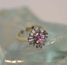 Vintage Gold Over Sterling Silver CZ Ring.. Pink Oval & Clear.. Size 7.5 (#46)