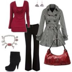 Red Drape Neck Top, Black Pants, Necklace, Ankle Boots, Red Purse, Black & White Plaid Coat classic style... red black and white