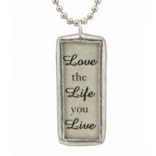 Inspirational Jewelry: Live the Life You Love Reversible Pendant Necklace