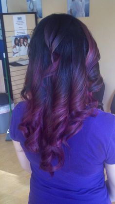 Black to purple Ombre    https://www.facebook.com/pages/Hair-FX-By-Jeannie/113430868723548?ref=hl