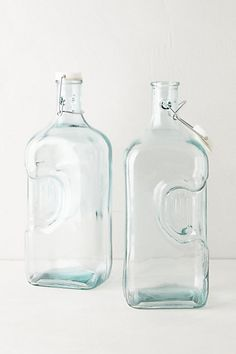 Green Glass Storage Jugs #anthropologie Would be cute to keep cordial in.