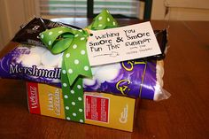 """S'more's ingredients for teacher gifts tied with a pretty ribbon....for Christmas change tag to """"Wishing you s'more & s'more fun this Christmas."""""""