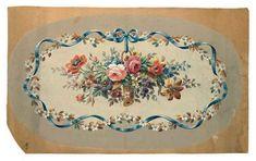 Trumeau, Aubusson Rugs, European Home Decor, China Painting, Floral Border, Vintage Postcards, Vintage Flowers, Vintage Walls, Dollhouse Miniatures