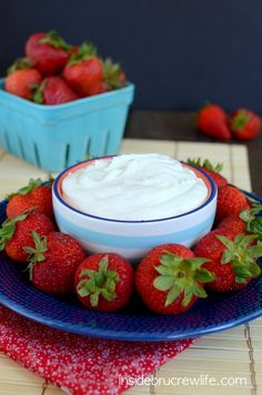 Coconut Cream Fruit Dip recipe - coconut cream and marshmallow cream make this dessert dip irresistible to dip your fruit in