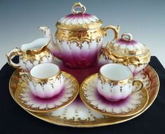 Antique tea set gold and pink Austria c. 1880s petit dejeurner