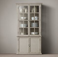 Restoration Hardware Hampton Casement Double-Door Panel Sideboard & Glass Hutch