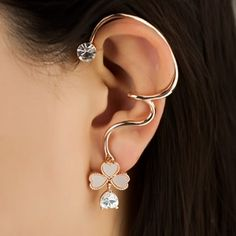 Lovely Opal Four-leaf Clover Crystal Alloy Gold Plated Women's Left Ear Cuff
