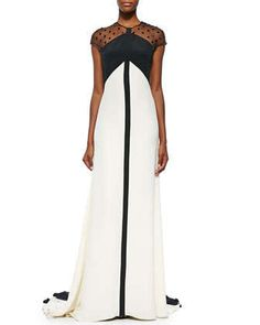 Beaded Sheer-Back Colorblock Gown, Black/Ivory by Lela Rose at Neiman Marcus.