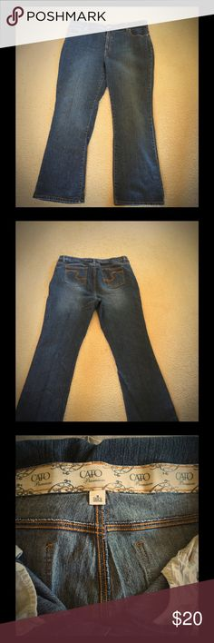 """Cute like new bootcut jeans 👖 size 18 Dark wash jeans, like new condition, worn once. Bootleg jeans. 77% cotton, 21 % polyester and 2% spandex. Stretch like jeans. Inseam is 26"""" Cato Jeans Boot Cut"""