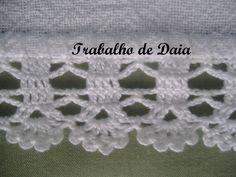 Foto: Trabalho nº 31 - Pano de prato com bico de crochê. Crochet Double, Love Crochet, Bead Crochet, Crochet Doilies, Crochet Earrings, Crochet Edging Patterns, Crochet Borders, Crochet Stitches, Sewing Patterns