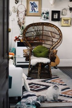 Eclectic art and wooden chair