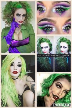 Save money o… Female Joker. Save money o… Female Joker. Save money o… Female Joker. Save money o… Female Joker Halloween, Female Joker Makeup, Joker Halloween Makeup, Girl Joker Makeup, Scarecrow Makeup, Clown Makeup, Sfx Makeup, Makeup Brushes, Female Joker Costume