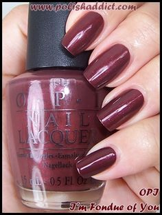 OPI La Collection De France OPI I'm Fondue of You is a reddish light chocolaty brown with reddish brown shimmer.